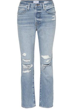 Frame High-rise distressed slim jeans