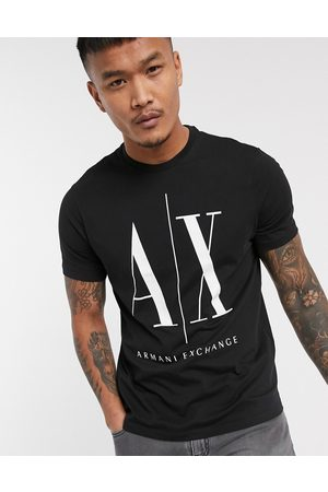 Armani Icon AX large logo t-shirt in black