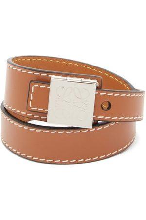 Loewe Logo-engraved Leather Wrap Bracelet - Mens