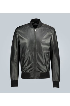 Dolce & Gabbana Leather bomber jacket with branded plate