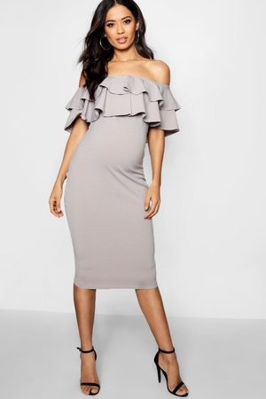 Boohoo Maternity Ruffle Off The Shoulder Midi Dress