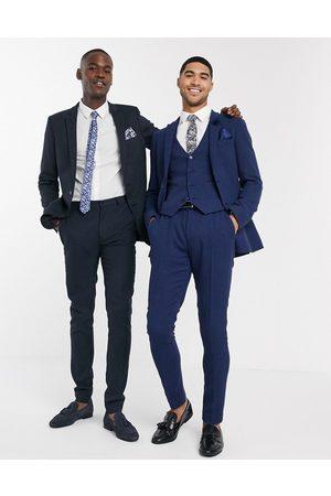 ASOS DESIGN wedding super skinny suit pants in blue wool blend micro houndstooth