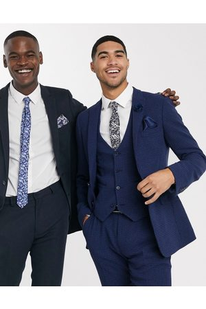 ASOS DESIGN wedding super skinny suit waistcoat in blue wool blend micro houndstooth