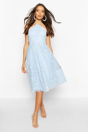 Boohoo Occasion Lace Full Skater Midi Dress- Cornflower