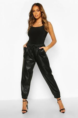boohoo Seam Front Leather Look Luxe Joggers