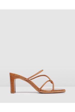Jo Mercer Women Heels - Novi Mid Heel Sandals - Sandals (Tan) Novi Mid Heel Sandals