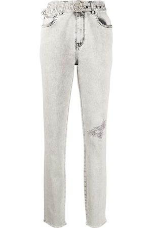 Roberto Cavalli Distressed belted jeans