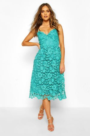 Boohoo Strappy Crochet Lace Skater Midi Dress- Teal