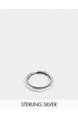 ASOS DESIGN sterling silver band ring with textured edge