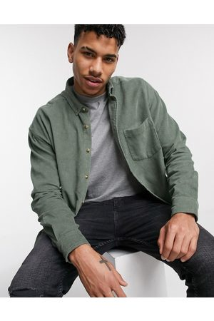 ASOS Oversized 90s style cord shirt in sage green-Red