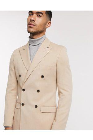 ASOS DESIGN super skinny double breasted blazer in camel oxford-Beige