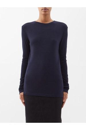 ASCENO Women Shirts - Prague Short-sleeved Silk-twill Shirt - Womens - Navy
