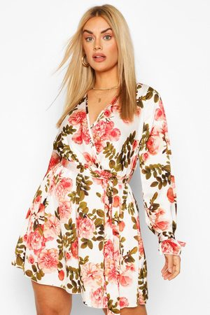Boohoo Plus Floral Wrap Tie Waist Skater Dress- Coral