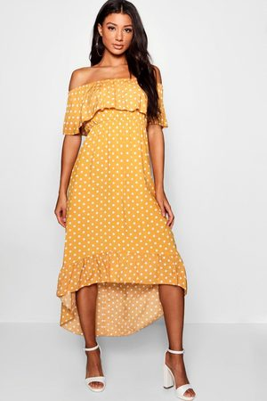 Boohoo Woven Polka Dot Print Bardot Maxi Dress- Mustard