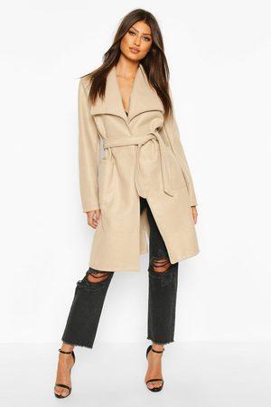 Boohoo Wide Collar Belted Wool Look Coat- Stone