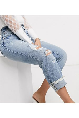 River Island Pop mom jeans in mid wash blue