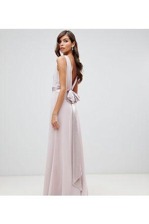 Men Ties - TFNC Bridesmaid exclusive bow back maxi in mink-Pink