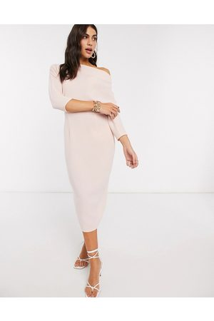 ASOS DESIGN fallen shoulder midi pencil dress in blush-Pink