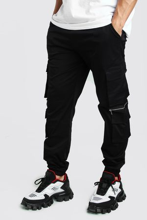 Boohoo Mens Man Twill Multi Pocket Cargo trousers With Zips