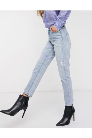 Vero Moda high waist ankle grazer mom jean in light blue