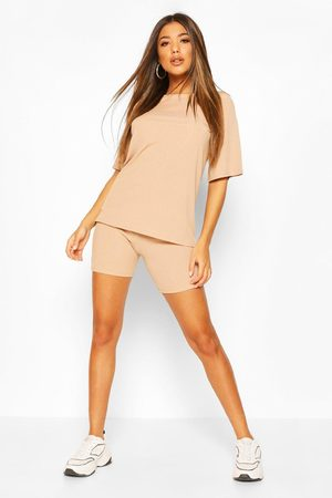 Boohoo Oversized T-Shirt And Cycling Short Co-Ord Set- Stone