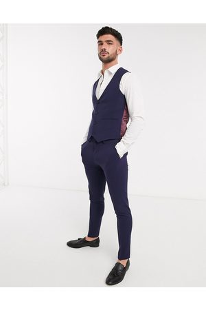 ASOS DESIGN super skinny suit waistcoat in four way stretch in navy