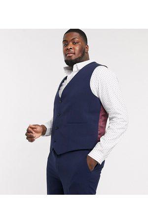 ASOS DESIGN Plus super skinny suit waistcoat in four way stretch in navy
