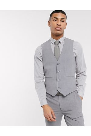 ASOS DESIGN super skinny suit waistcoat in four way stretch in mid grey