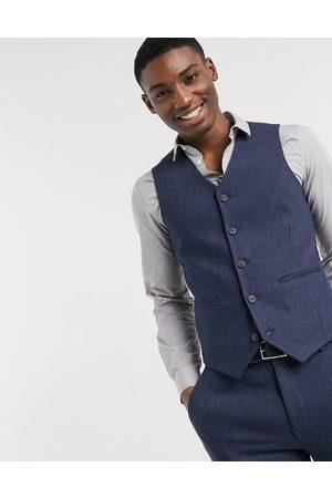 ASOS DESIGN wedding super skinny wool mix suit waistcoat in navy herringbone