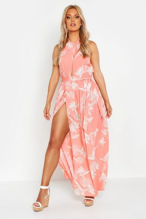 Boohoo Women Halterneck Dresses - Plus Printed Halter Neck Maxi Dress- Coral