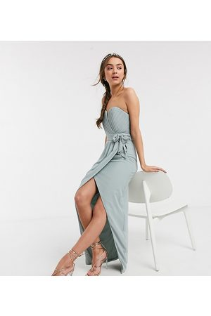 TFNC Petite bridesmaid exclusive bandeau wrap midaxi dress with pleated detail in sage-Green