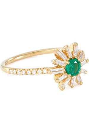 Suzanne Kalan Fireworks' diamond emerald 18k yellow gold flower ring