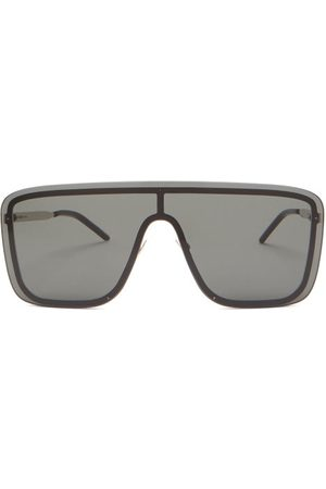 Saint Laurent Logo-engraved Shield Metal Sunglasses - Mens