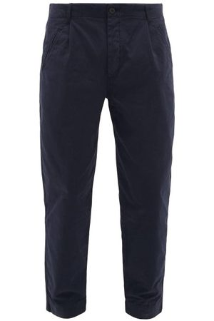 Folk Assembly Cropped Cotton-twill Chino Trousers - Mens - Navy
