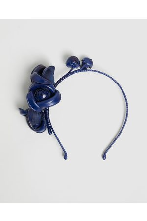 Max Alexander Leather Flowers Headband - Fascinators (Navy) Leather Flowers Headband