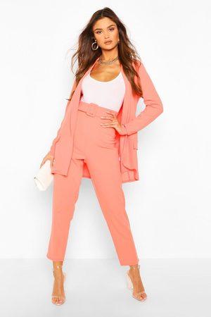 Boohoo Tailored Blazer & Self Fabric Belt Pants Suit Set- Coral
