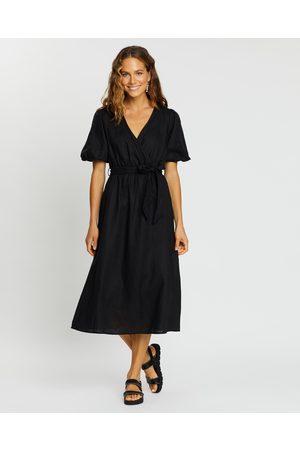 AERE Linen Wrap Dress - Dresses Linen Wrap Dress
