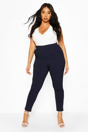Boohoo Plus Super Stretch Fitted Pants- Navy