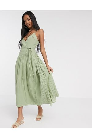 ASOS Tie wrap around crinkle maxi dress in khaki-Green