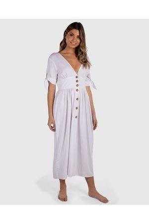 Tolu Australia Linen Buttoned Dress Kaftan - Swimwear Linen Buttoned Dress Kaftan