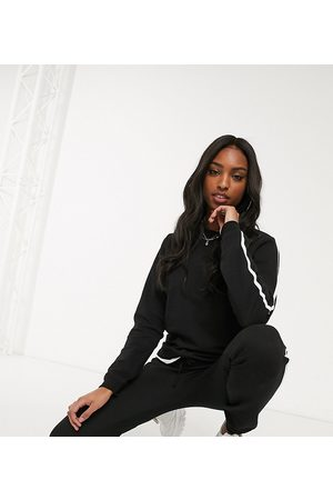 ASOS DESIGN Tall tracksuit cute sweat / basic jogger with tie with contrast binding in organic cotton-Black
