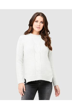 Ripe Maternity Cable Nursing Knit - Jumpers & Cardigans (Snow) Cable Nursing Knit