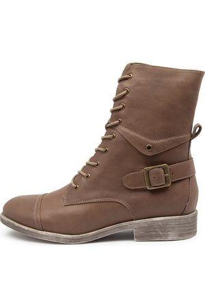 Django & Juliette Mekhi Taupe Boots Womens Shoes Casual Ankle Boots