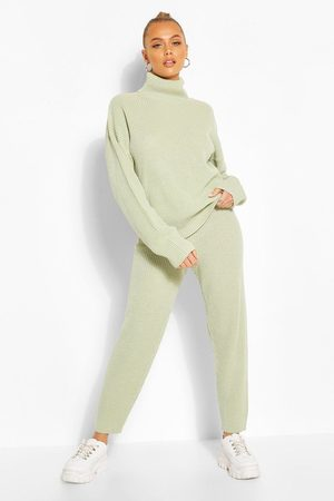 Boohoo Turtle Neck Knitted Jogger Lounge Set- Sage