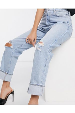 River Island super high rise straight leg ripped jeans in light blue