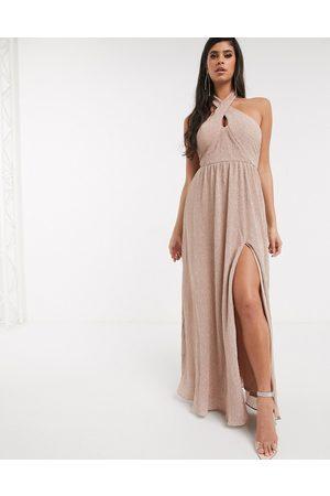 Women Maxi Dresses - Bariano shimmer plisse halter neck maxi dress in caramel-Gold