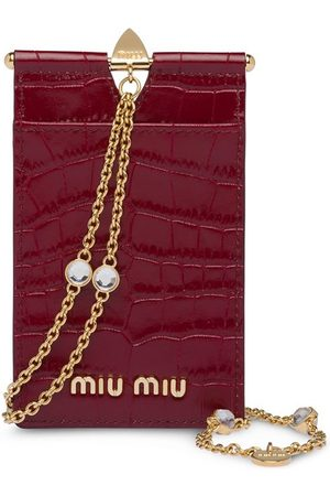 Miu Miu Croco-print leather badge holder
