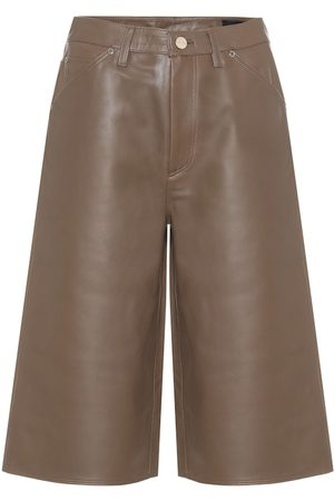 Goldsign High-rise leather Bermuda shorts