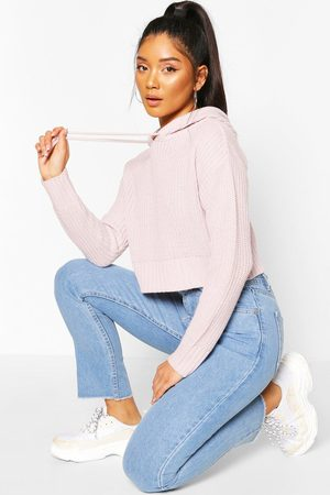 Boohoo Women Sweaters - Knitted Hooded Cropped Jumper- Lilac