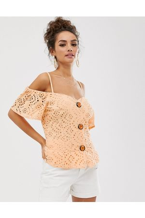 ASOS DESIGN contrast broderie off shoulder top with button through-Pink
